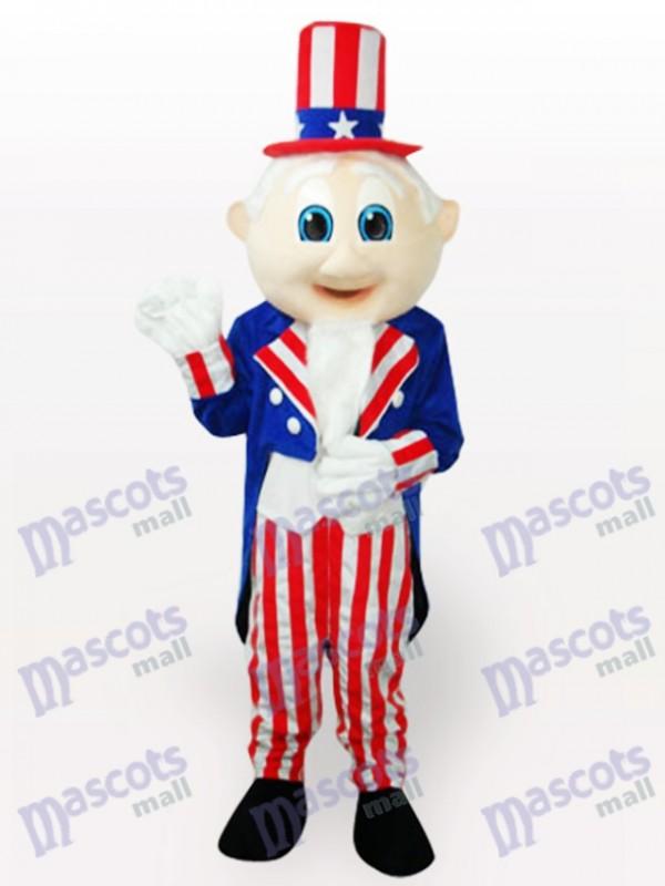 Costume de mascotte adulte de l'oncle Sam Cartoon