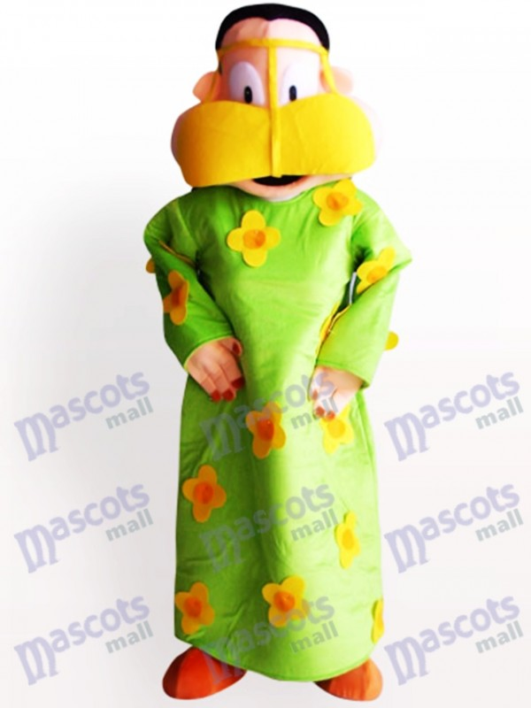 Grosse femme en costume de mascotte adulte de vêtements vert Cartoon