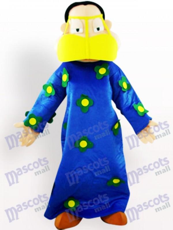 Grosse femme en costume bleu Costume mascotte adulte de vêtements