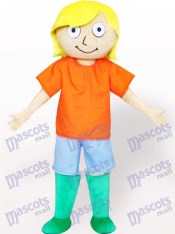 Costume de mascotte adulte de dessin animé de garçon de cheveux jaunes