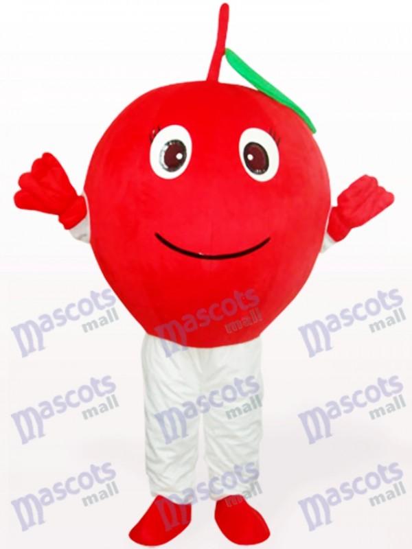 Pomme rouge avec le costume de mascotte adulte de fruit de feuille seule