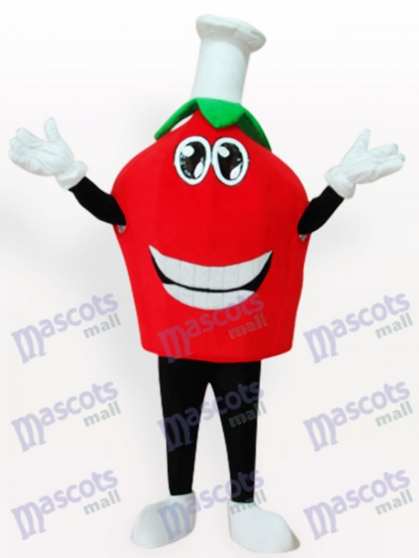 Costume de mascotte de fruits courts aux fraises rouges