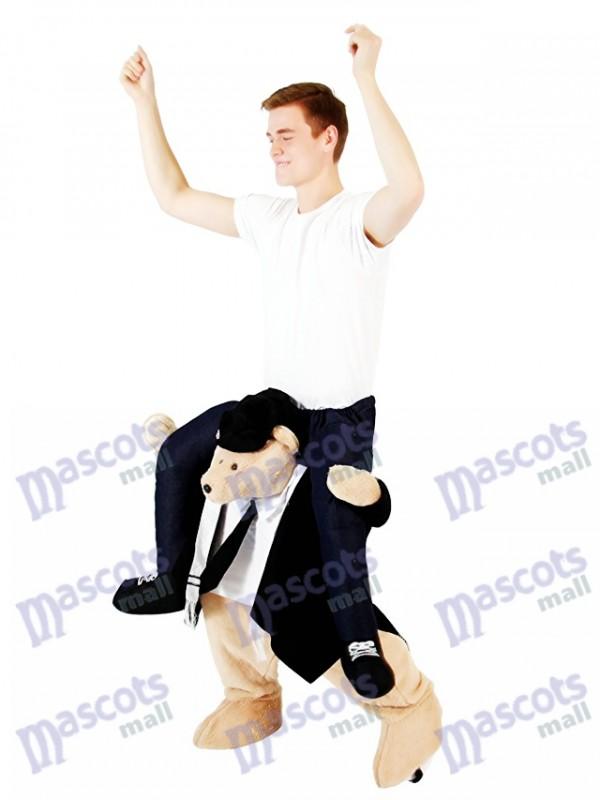Piggyback Rabbi Carry Me monter sur le costume de mascotte de Rabbi Ours