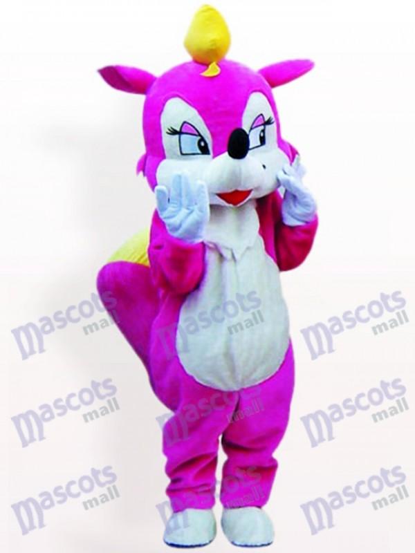 Costume de mascotte adulte animal écureuil rose