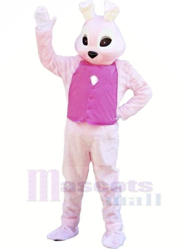 lapin avec Rose Gilet Mascotte Les costumes Animal